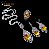 HENSEN Unique Silver Plated Antique Jewellery Set New Fashion Leaf Shape Vintage Faux Amber Jewelry Sets