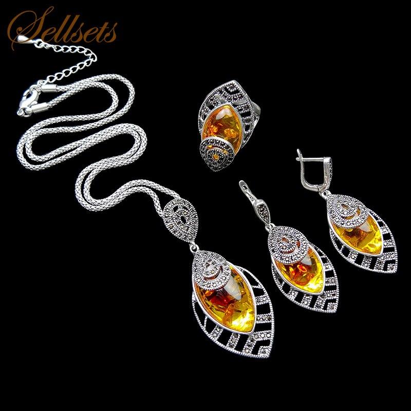 Sellsets Unique Silver Color Antique Jewellery Set New Fashion Leaf Shape Vintage Jewelry Sets Women Accessories
