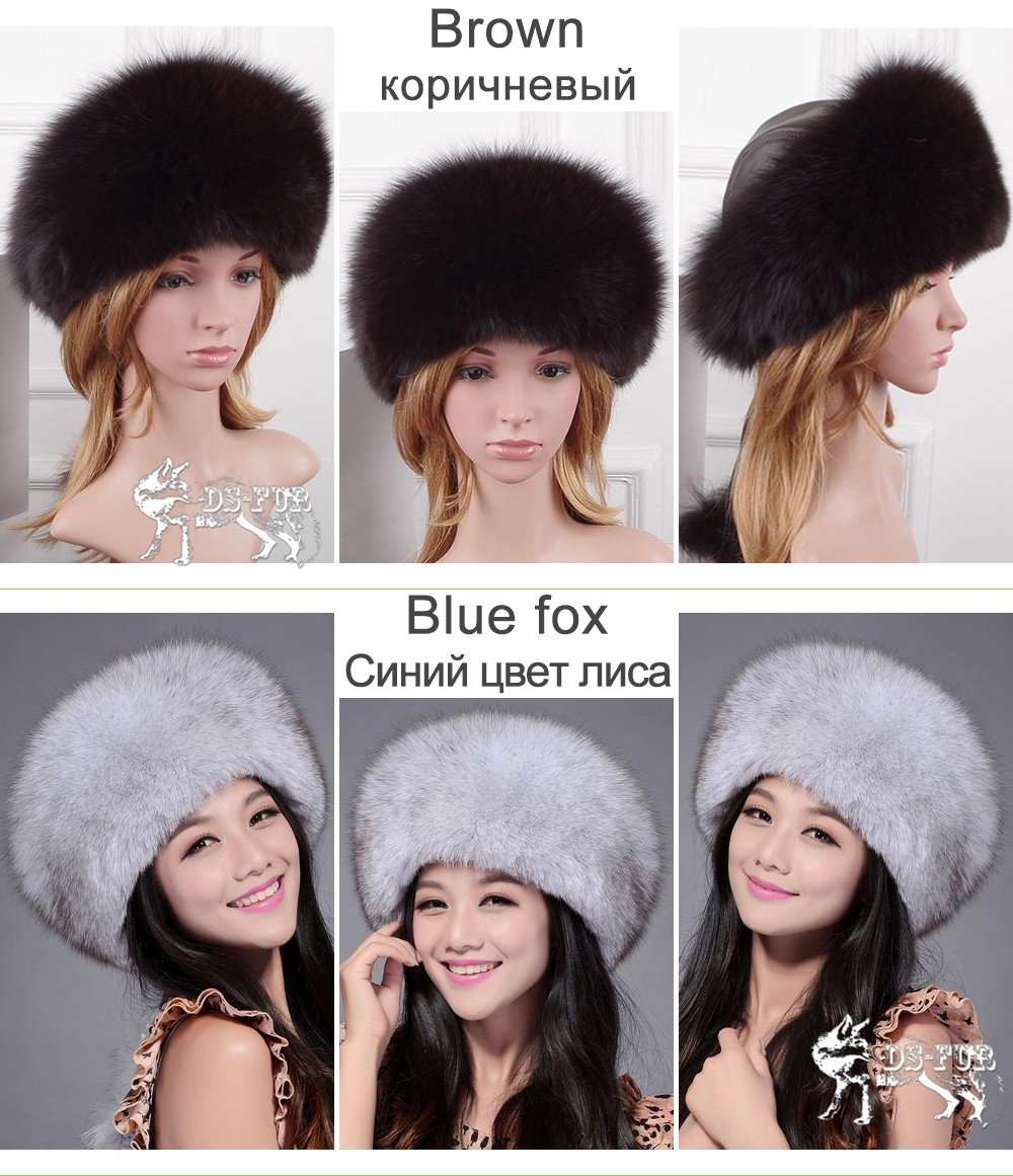 Women leather real fox fur hats02