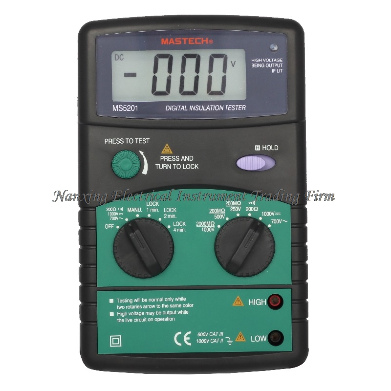 FAST SHIPMENT Mastech MS5201 Digital 1999 counts Megger Insulation Tester Resistance AC/DC Voltage with Sound/Light Alarm mastech ms5201 digital megger megometro mega ohm insulation resistance tester ac dc voltage detector with alarm