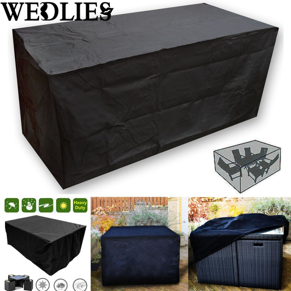 Black waterproof outdoor patio furniture set cover garden for Outdoor furniture covers in black