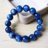 14mm Precious Natural Blue Kyanite Gems Stone Cat Eye Big Round Crystal Beads Jewelry Powerful Stretch Men Bracelet