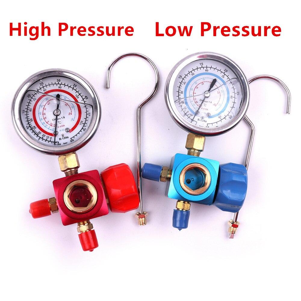 Hohe Qualität 1 stücke Rot/Blau 1/4 R410A R134A R22 High/Low Manometer Klimaanlage Kältemittel Verteiler gauge Mit Ventil