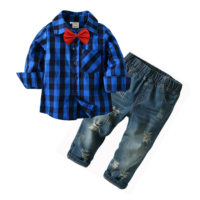 cb680d68 Boys Denim Clothes Sets For Gentleman Outfits Bow Tie Long Plaid Shirt  Broken Holes Ripped Cotton Casual Fashion Jeans 2-7 Years