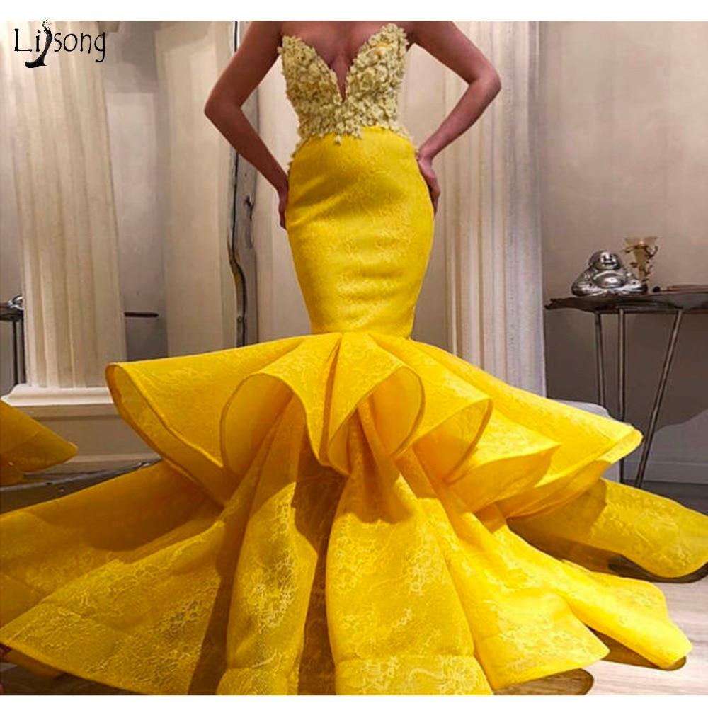 2019 zitrone gelb spitze meerjungfrau prom kleider 3d blume sexy lange prom  kleider schatz weg von schulter kleider größe robe de soiree