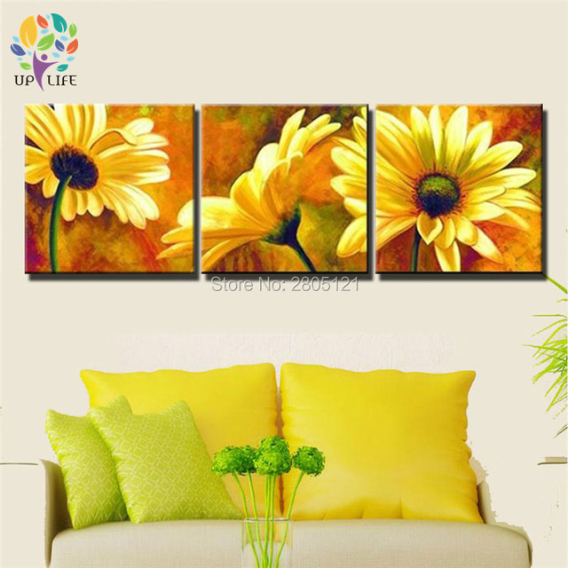hand painted oil wall art YELLOW flowers picture chrysanthemum home ...