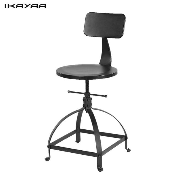 IKayaa Industrial Style Metal Bar Stool Adjustable Height Swivel Kitchen  Dining Chair W/ Backrest Bar