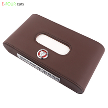 E-FOUR  Car Tissue Box Genuine Leather Cover witch Top Layer Brand High Class Styling holder for Accessories Logo