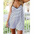 Fashion Women Summer Cool Mini Halter Dress Black And White Stripes Loose V-neck Halter Sexy Dress