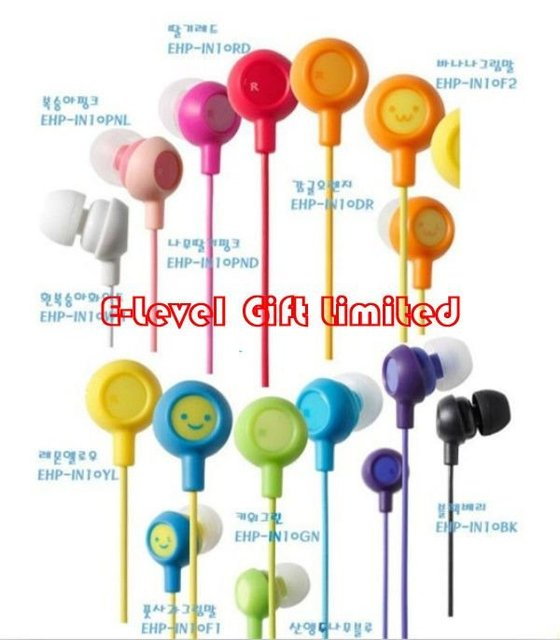 #A0008 Hot Sale 10pcs/lot CPAM Free Ship! Smiling Face In-ear Color Earphone, Smile Earpiece Fruit Headphone Headset w/ Bag Pack