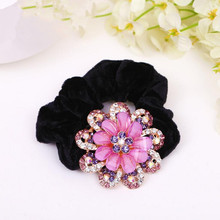 Alloy rhinestone flower Velvet Scrunchies for hair Adult Women Hair Ties Ponytail  Holder Accessories(China 0cf2b636ce61