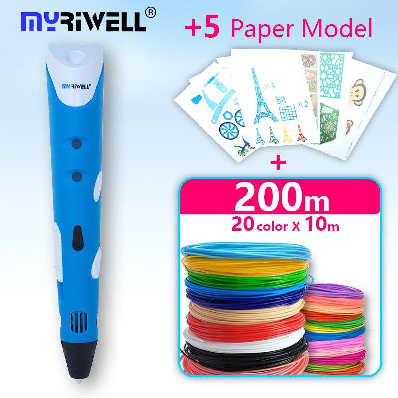 myriwell 3d pen 3d Printer pen 1.75mm ABS-PLA 3d drawing pen + Free Filament +5template the Best Chr