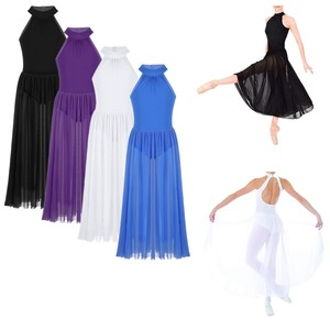 Image 2 - Vestido de bailarina crianças sem mangas mock t neck collant para meninas vestido de balé com malha maxi saia louvor trajes de dança lírica