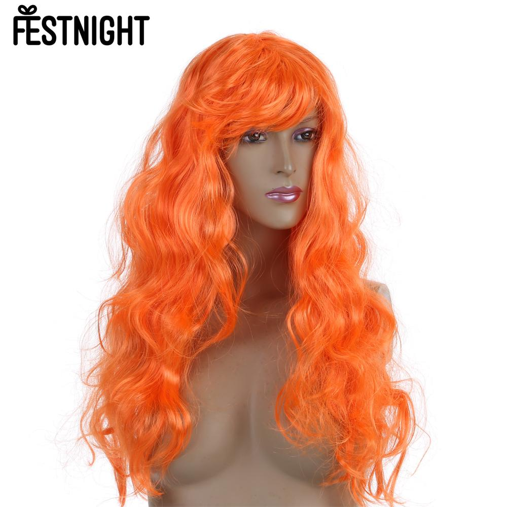 festnight orange womens fashion long curly hair full wig halloween masquerade cosplay stage show costume party - Red Wigs For Halloween