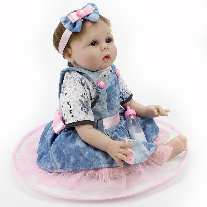 caaf26b8b71c 22 inch 55cm Reborn Dolls Handmade Soft Silicone Doll Denim Skirt ...
