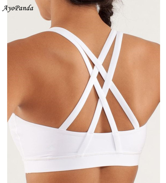 80c9a42865 AyoPanda Women White Strappy Cute Sports Bra With Beautiful Back Padded Push  Up Bras Breathable Soft Running Top