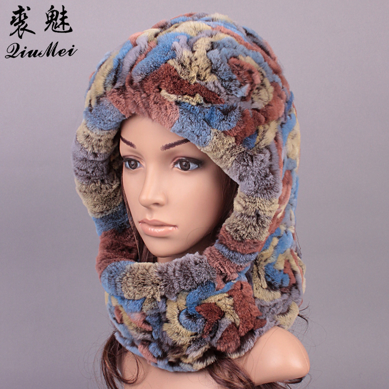 c6d4a026cd7 QiuMei Plush Ladies Real Fur Caps Russian Fur Caprex Rabbit Fur Winter Warm  Furry Hat Russian Hat Earflaps Hat Ushanka Hats