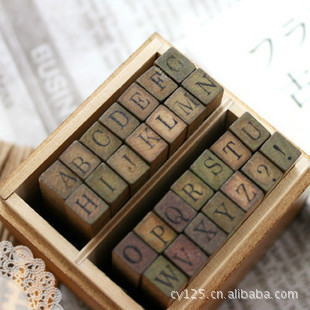 Digital English Stamp Wooden Alphabet Digital Letters Seal Standardized Stamps Retro Letters Diaries Seal 28 Roman Capital Stamp