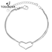 Todorova Fashion Womens Jewelry Hollow Heart Bracelets Double Layer Chain Link Bracelet Gift for Girl Lady Drop Shipping