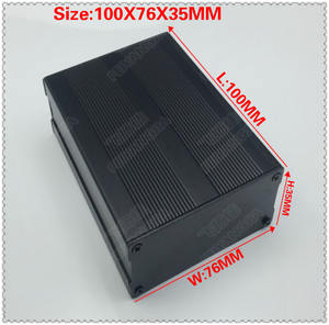 ( Free shipping) 2 Pcs Black Extruded Aluminum Enclosures PCB Instrument Electronic Project Box Case 100x76x35mm