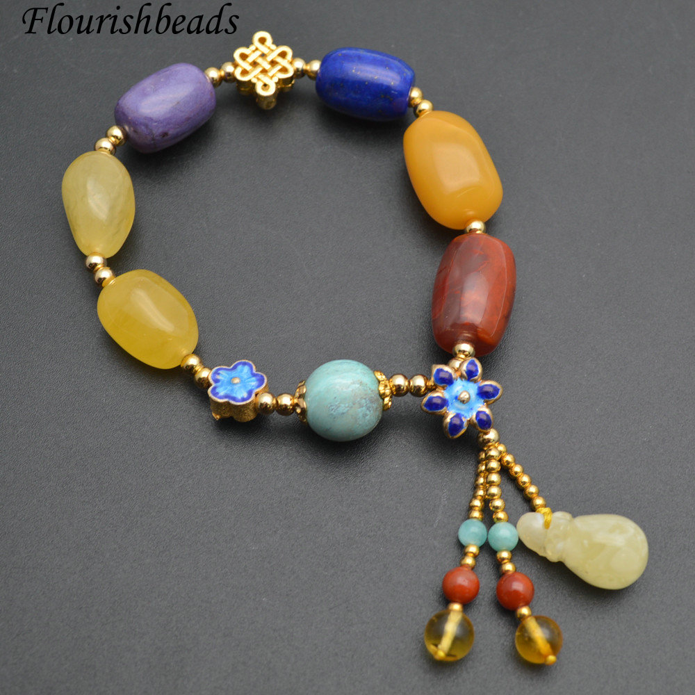 1pc Natural Amber Red South Agate / Tuquoise / Charoite and Lapis Beads Cloisonne Charm Bracelet Fashion Woman Jewelry Gift все цены