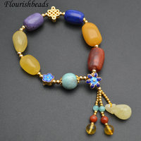 1pc Natural Amber Red South Agate / Tuquoise / Charoite and Lapis Beads Cloisonne Charm Bracelet Fashion Woman Jewelry Gift