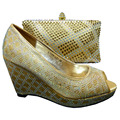 1308-L51 Gold color Latest Noble Design African Shoes And Bags Italian Matching Shoe And Bag Set Nigerian High Heels