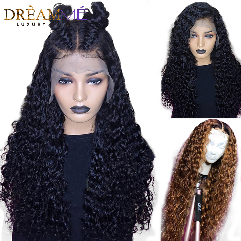 Colored Ombre Blonde Lace Front Wig 1B 30 Deep Curly Human Hair Wig Pre Plucked 13X6