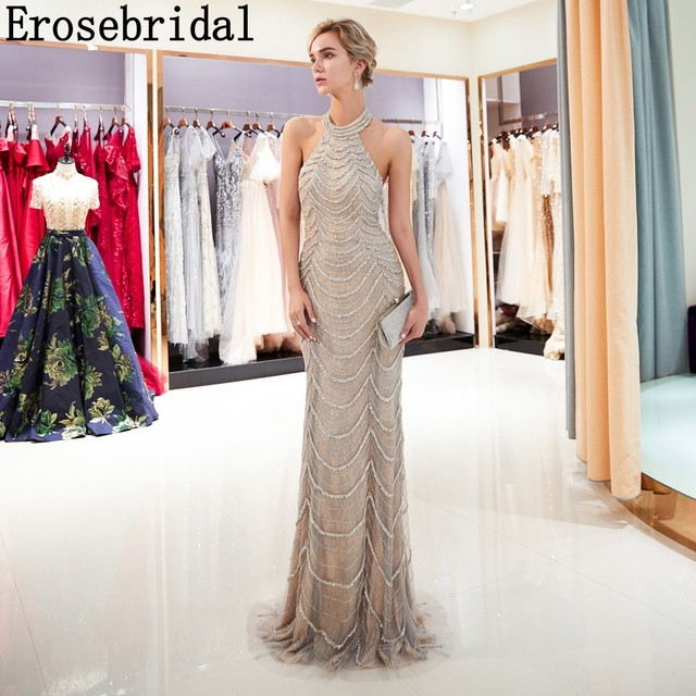 f105fa500e863 2018 Mermaid Evening Dresses Long Erosebridal Sliver Beading Off The  Shoulder Prom Party Gowns Open Back Robe De Soire ZCC03-in Evening Dresses  from ...