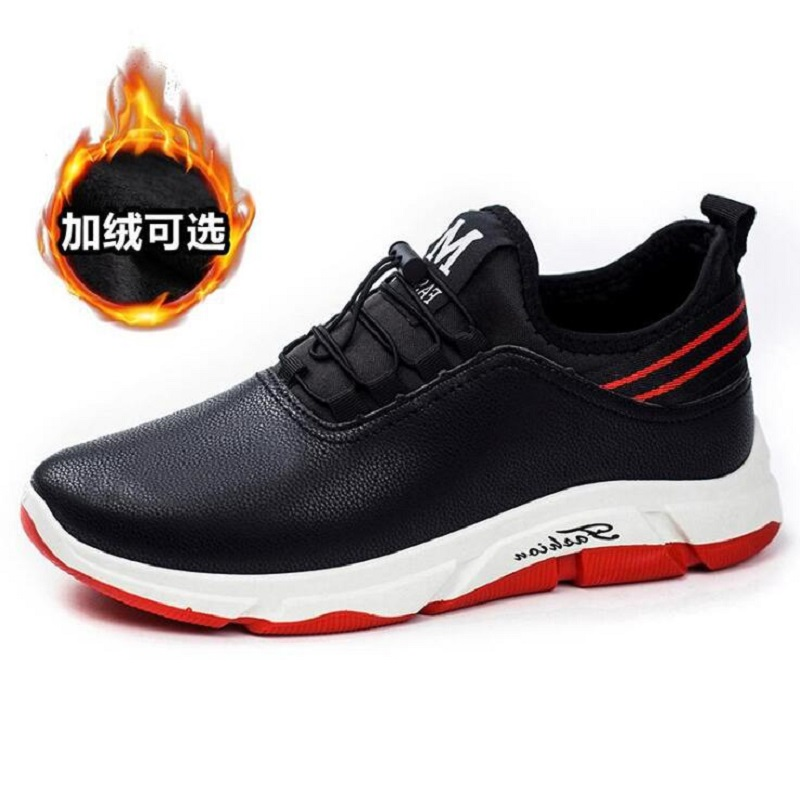 Factory Price Waterproof PU Men Casual Shoes Basic Mens Trainers Soft Warm Leather Shoes Snow Students Sneakers Rubber Sole