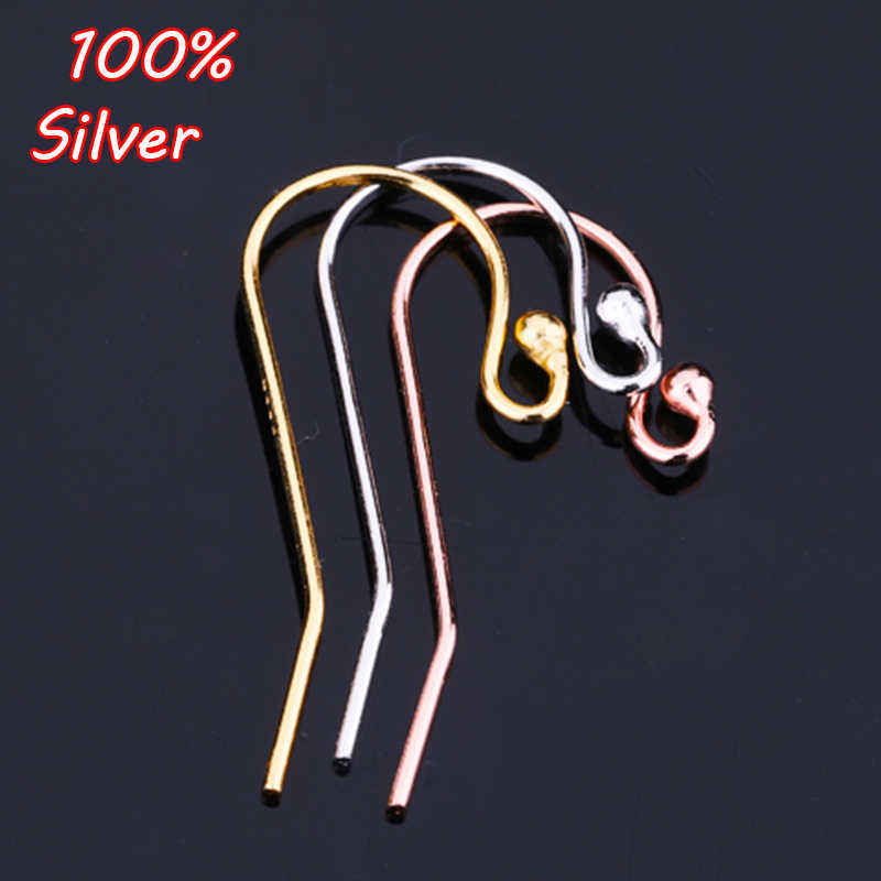 100% Authentic 925 Sterling Silver Fashion Charm Earrings Ear Hooks 3 color DIY Accessories Connector Jewelry Making Wholesale