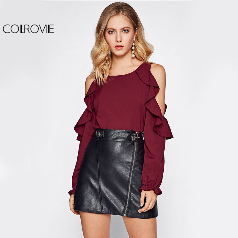 COLROVIE Open Shoulder Ruffle Blouse Elegant Women Burgundy Autumn Tunic Tops 2017 Fall Fashion Sexy Cut