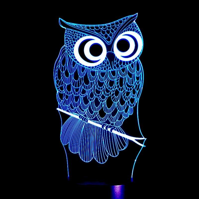 3 colores cambio LED noche lámpara dibujos animados búho 3D holograma Luminarias rojo azul púrpura cambiable Mood lámpara 80 cm Cable ee.uu. UE enchufe