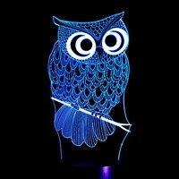NOUVEAU 3 Couleurs Changement LED Lampe de Nuit Hibou de Bande Dessinée 3D Hologramme Luminarias rouge Bleu Violet Variable Humeur Lampe 80 CM Câble US Plug UE