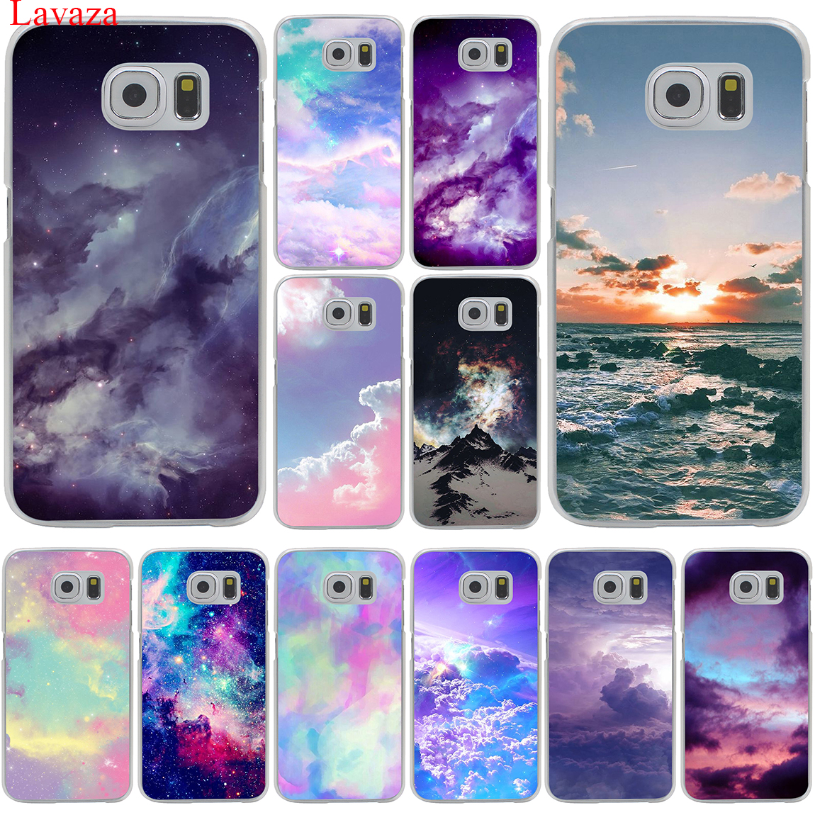 Lavaza Pink cute kawaii sky space Sunset Cloud Art Case Hard for Samsung Galaxy S6 S7 S8 Edge Plus S5 S4 S3 & Mini Cover Clouds