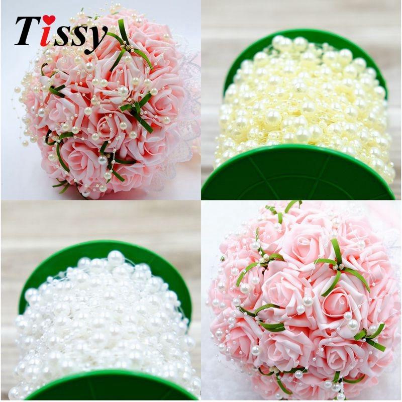 5 м/лот Рыбалка линии искусственный жемчуг бусины цепи гирлянда цветы для свадьбы букет цветок украшения питания