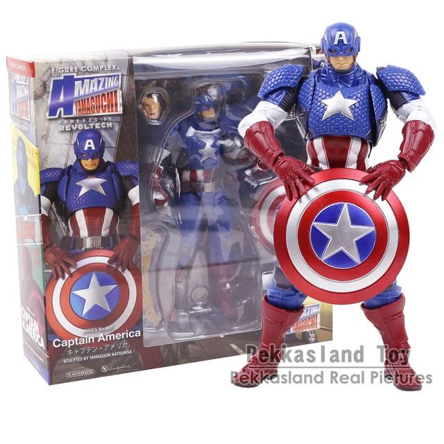 Revoltech Incrível Yamacuchi Lendas Da Marvel Capitão América PVC Action Figure Collectible Modelo Toy 16 CM