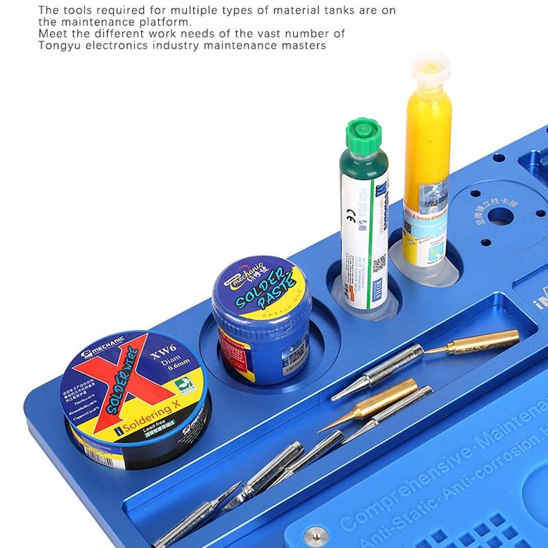 Mecánico de aleación de aluminio de Multi función de reparación de microscopio Base de reparación de teléfono móvil de la plataforma de mantenimiento - 5