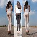 Mulheres Senhora Sexy Calças Perspectiva Transparente Elástico Magro Leggings Boate Preto/Branco