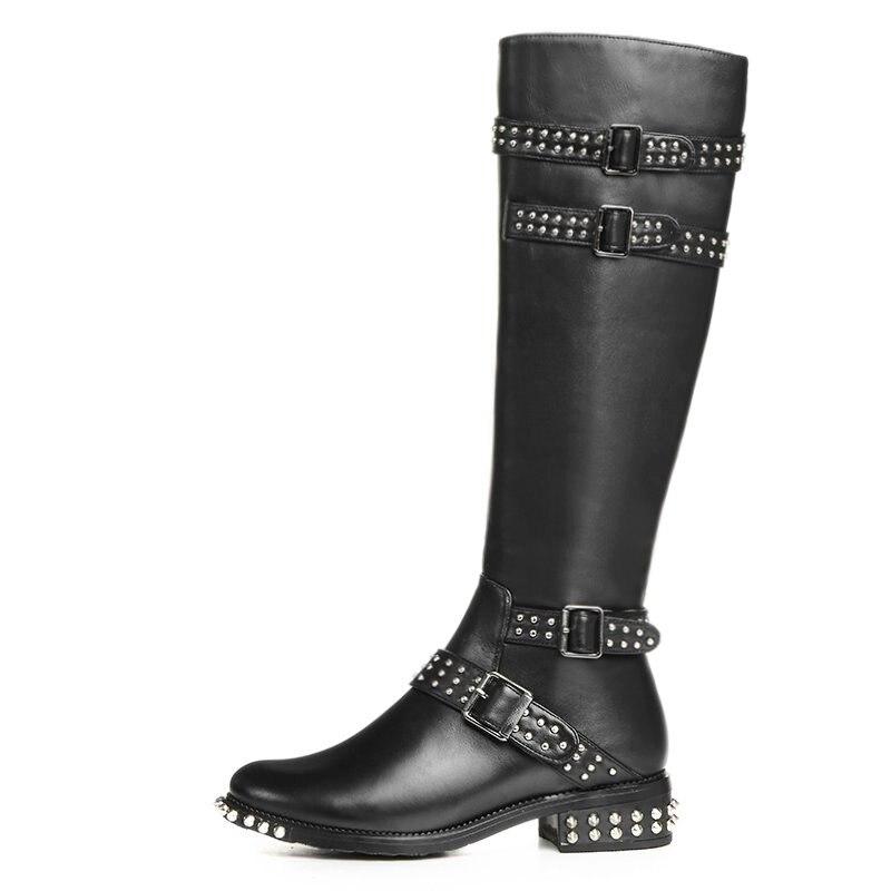 Noir Véritable Rivet En Femme Chaussures Moto Femmes Automne Épais De Bottes Cuir Talons Y0631576f Genou Mode Haute Pu X6BfwHgqn