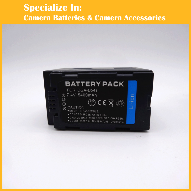 High capacity 5400mAh CGA-D54S CGA D54S CGAD54S Replacement Battery charger set for Panasonic
