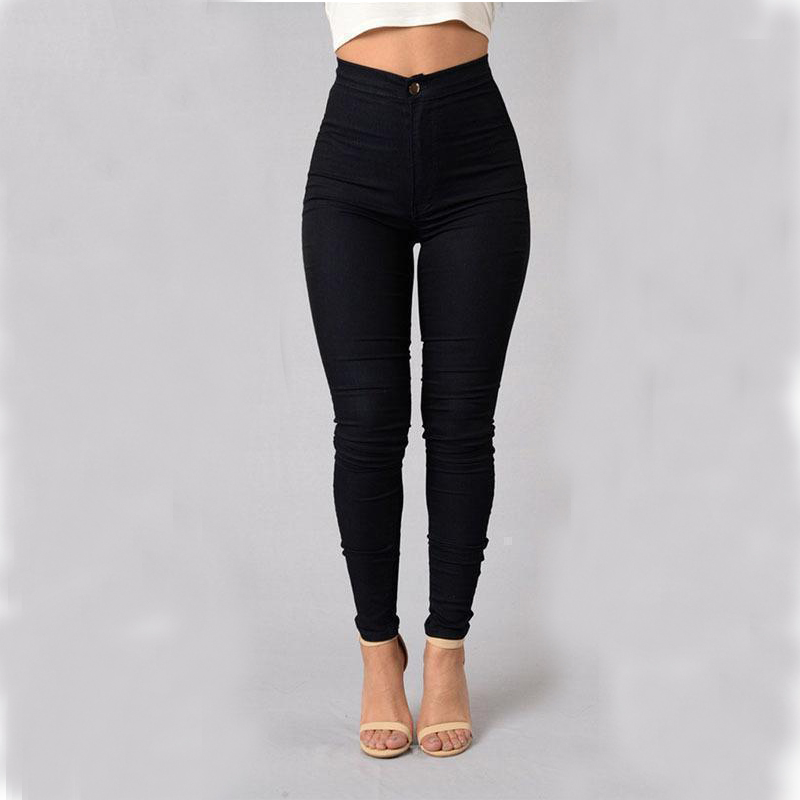 Women High Waist Tight   Jeans   Elastic Skinny Long Pants Candy Color Pencil   Jeans   Femme Spring AutumnA-016