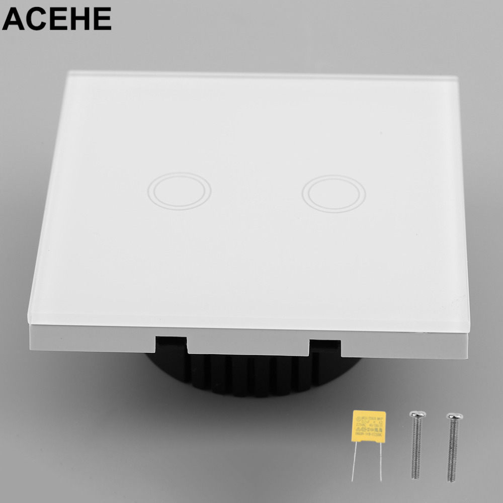EU Plug 1/2/3 Circuit Touch Screen Switch 1 2 3 Gang 1 Remote Control Wall Light Switch with LED indicator Crystal Glass Panel smart home us black 1 gang touch switch screen wireless remote control wall light touch switch control with crystal glass panel