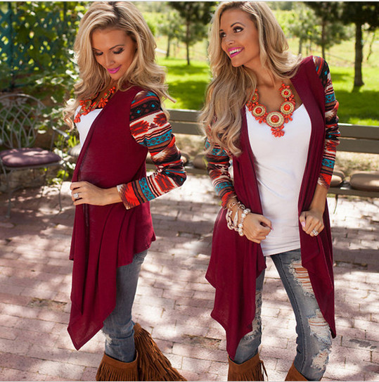 2017 New Aztec Long Sleeve Women Cardigan Female Asymmetrical Knitted Sweater Casual Cardigans Sweaters Air conditioning Shirts