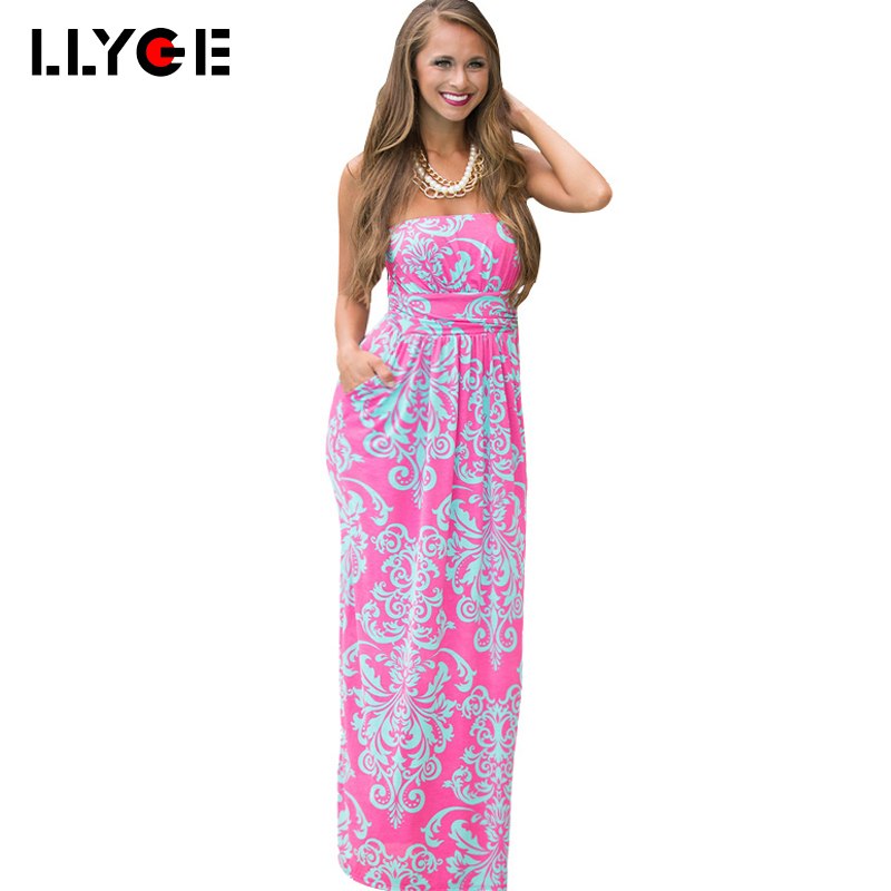LLYGE Women Strapless Maxi Vintage Floral Print Graceful Party Long Dress Hit Color Wrapped Chest Printed Beach Wear Long Dress