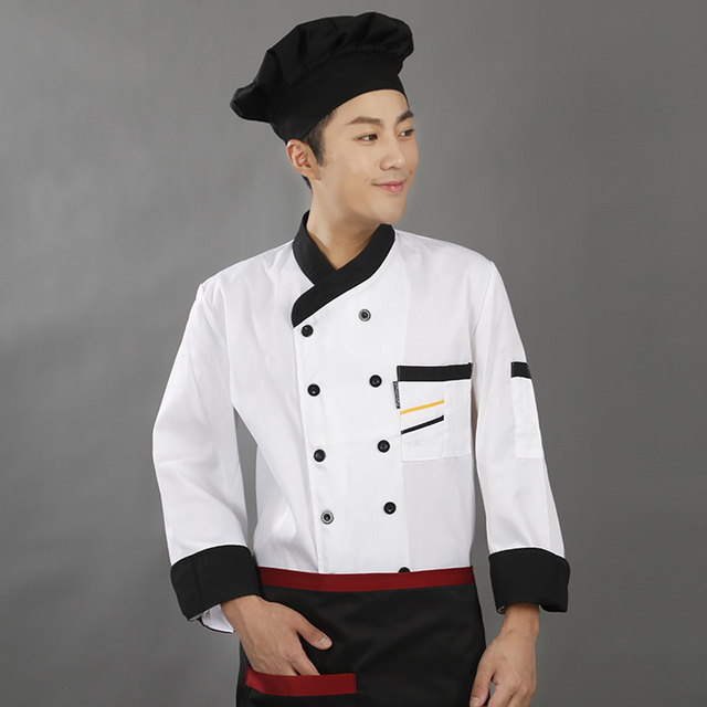 Kitchen Wear Shelf For High Quality Autumn Short Full Sleeve Chef Uniform Men Solid Polyester Cook Costumes Food Service