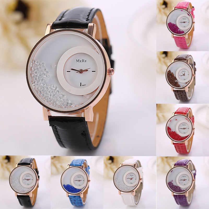 ファッションクォーツ時計女性の高級ラインストーン流砂革ブレスレットカジュアル腕時計バルク relogios femininos 時計女性