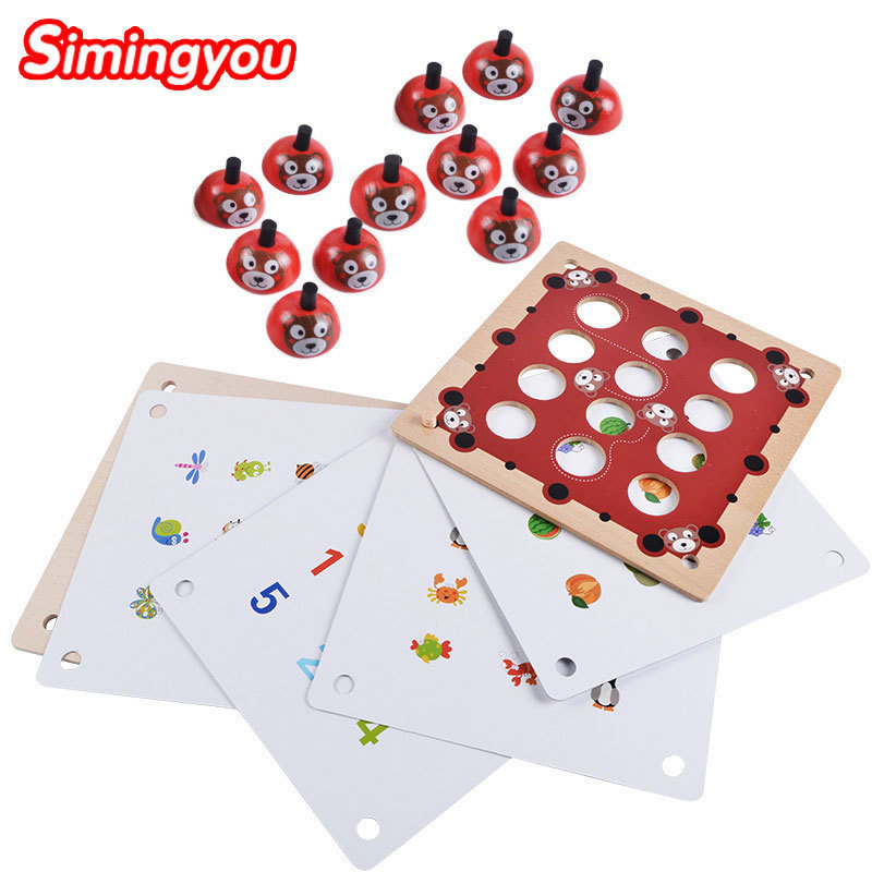 Simingyou Children Toys Wooden Puzzle Bear Memory Chess Wooden Pairing Game Exercise Baby Thinking B40-45 Drop Shipping chess and mathematical thinking