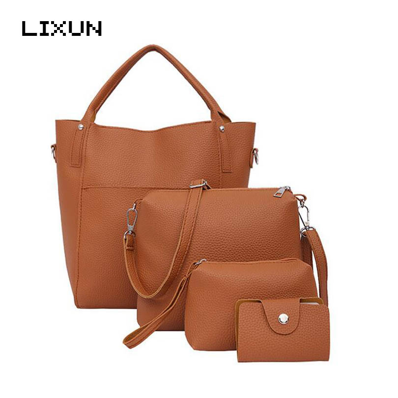 New 4pcs Women Simple Leather Bucket Shoulder Crossbody Bags Female Fashion Day Clutch Bag Purse Wallet Messenger Bag Set Bolsas 2016 women fashion brand leather bag female drawstring bucket shoulder crossbody handbag lady messenger bags clutch dollar price