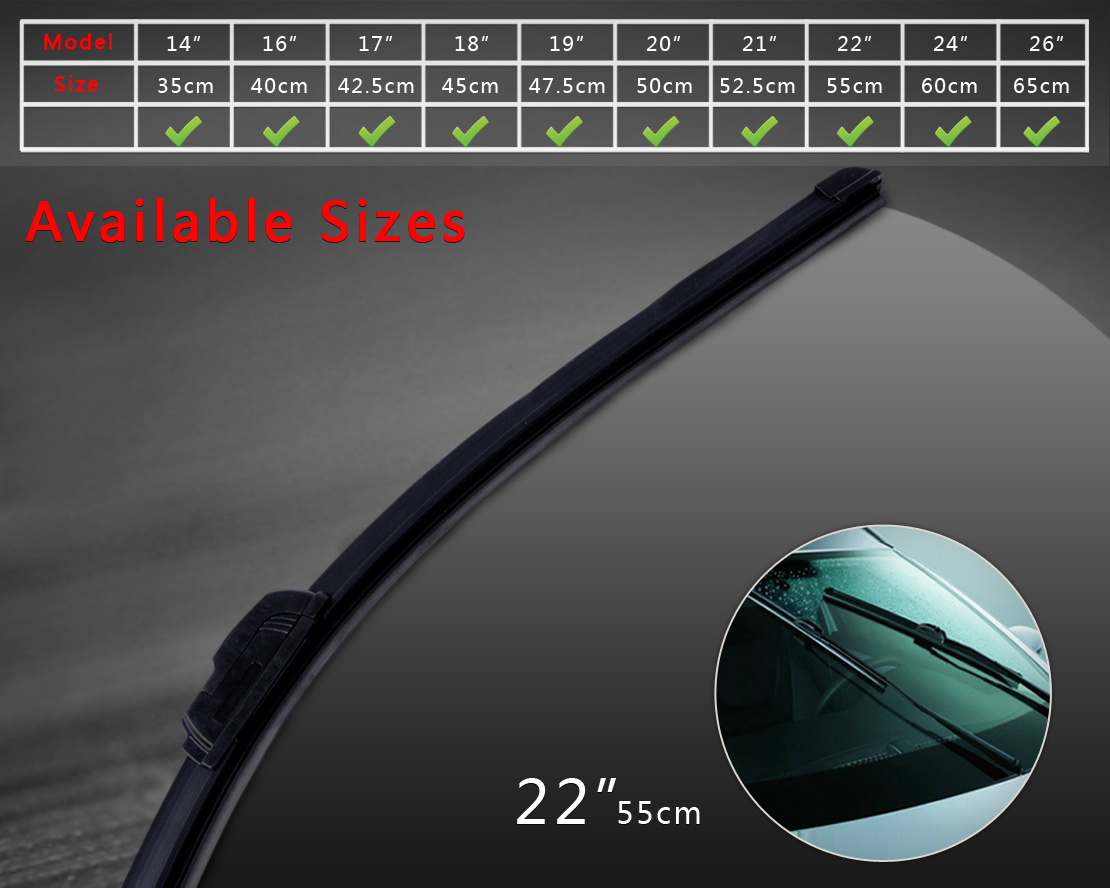 DWCX Universal 22 J hook Soft Bracketless Frameless AAA Rubber Window Windshield Wiper Blade for Mercedes BMW 4 5 6 Series VW